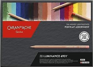 Caran d'Ache Luminance Portrait Colouring Pencils Assortment 20 Colours, Multi-Colour, 26 x 19 x 2 cm