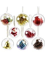 ec94dfbb14a GWHOLE 15 Piezas de Bola de plástico Transparente rellenable para decoración  de árbol de Navidad en