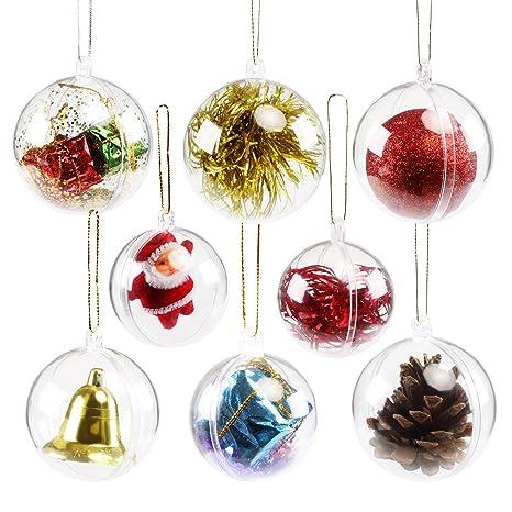 19295d290a99e GWHOLE 15 Piezas de Bola de plástico Transparente rellenable para decoración  de árbol de Navidad en
