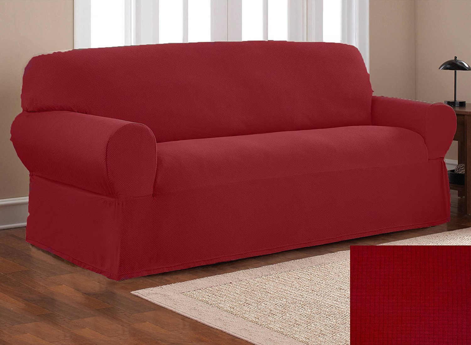 Elegant Home One piece Stretch to Fit Sofa Cover Furniture Couch Slipcover # Stella (Burgundy)
