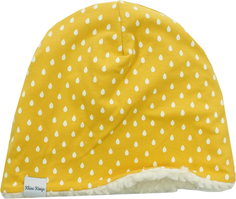 Kleine K/önige M/ütze M/ädchen Herbst Winter Kinderm/ütze /· Modell Tropfen Yellow Raindrops gelb /· Innen Fleece Teddy /· Gr/ö/ßen 74-128