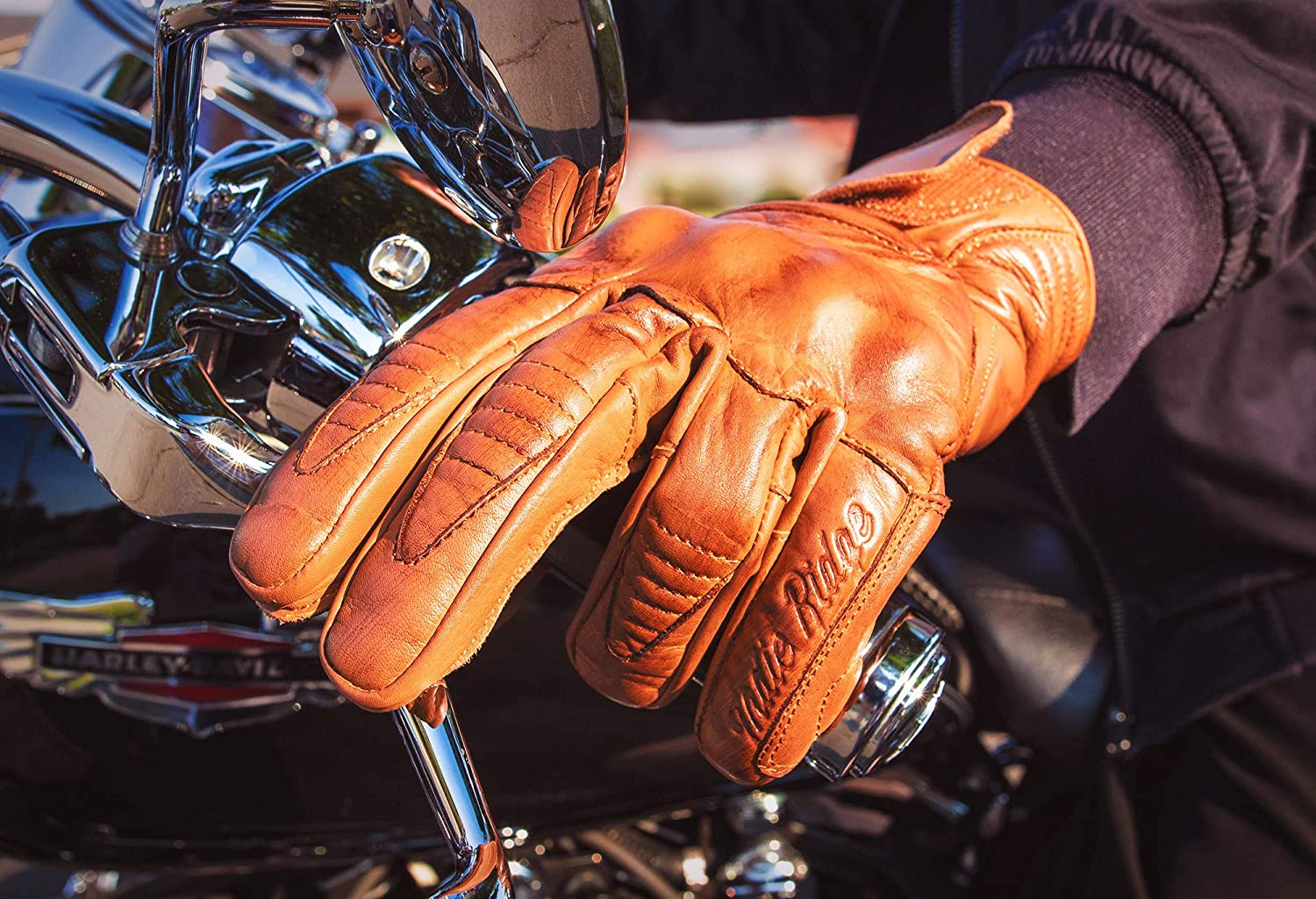 Cool Half Gauntlet with Mobile Touchscreen Premium Leather Motorcycle Gloves Cafe Racer Large Camel Comfortable Riding Protection