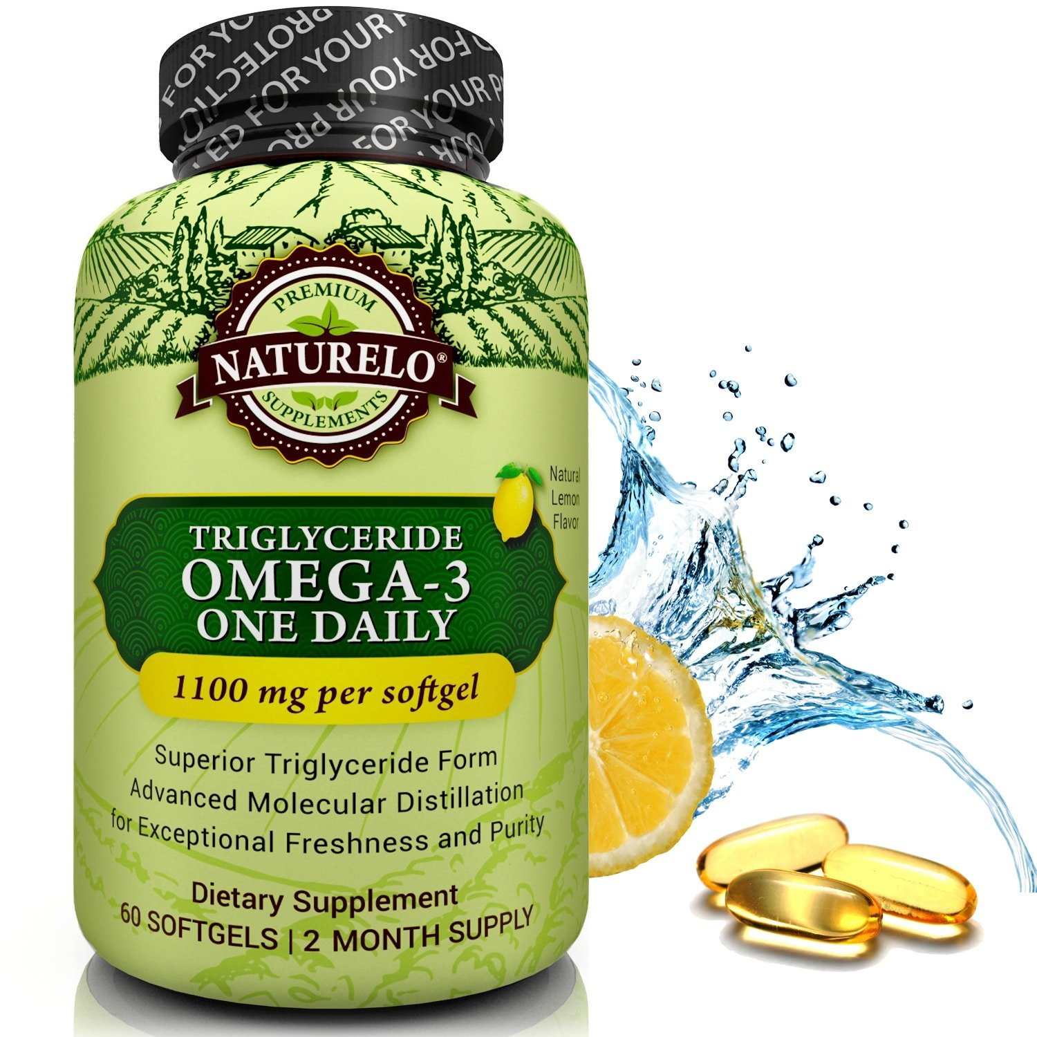 [24 Hour Sale] NATURELO Premium Omega-3 Fish Oil - 1100 mg Triglyceride Omega 3 - High Strength Burpless DHA EPA Supplement - Best for Brain Heart Joint Health - 60 Softgels   2 Month Supply