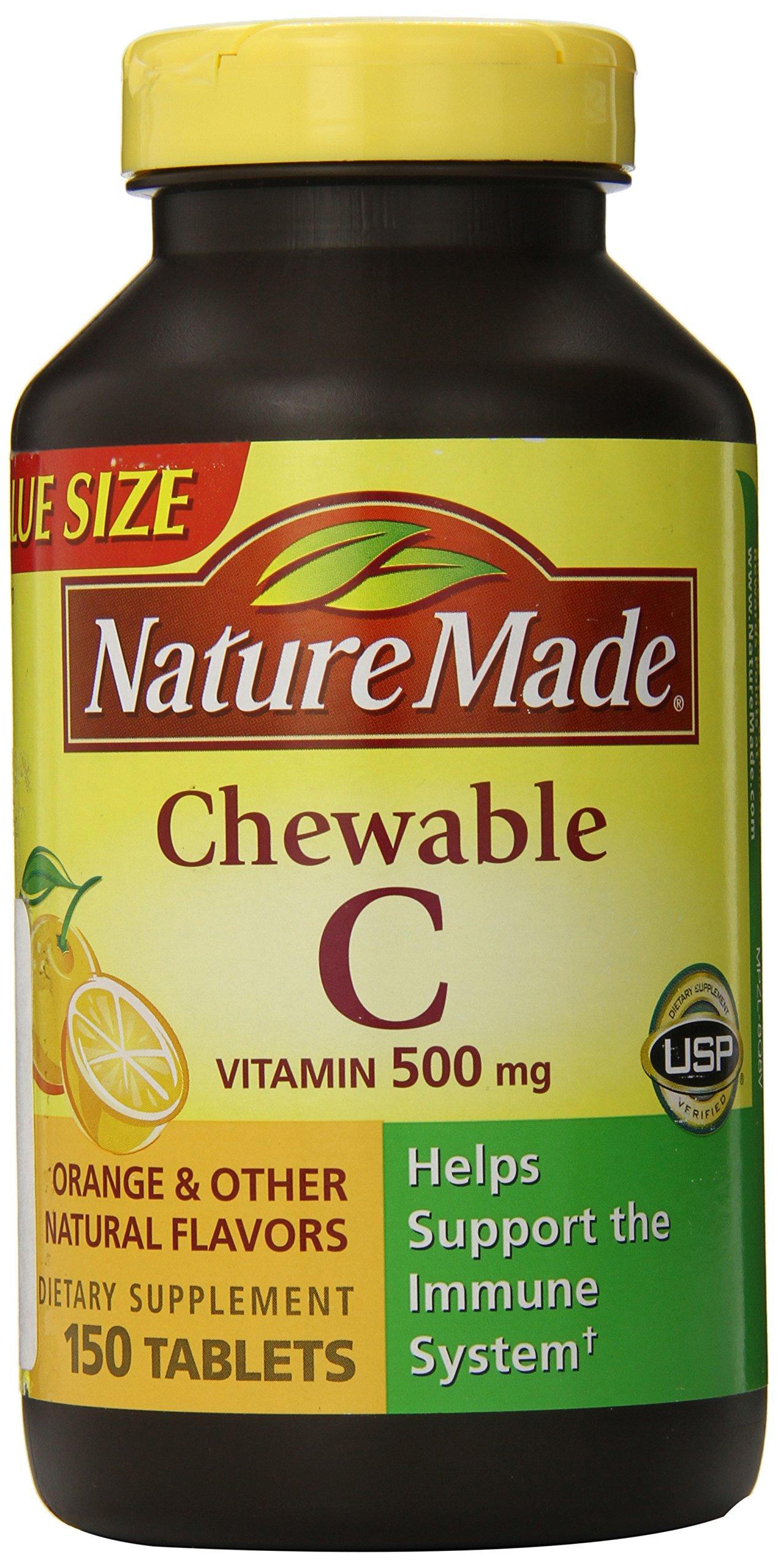 Nature Made Vitamin C 500 mg Chewables, Orange, 150 ct