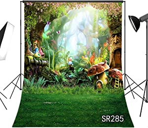 LB Fairytale Forest Wonderland Backdrops for Photography Kids Newborn Baby Shower Birthday Party Photo Background with Green Grassland Customized Vinyl 5x7ft Photo Shoot Studio Props SR285