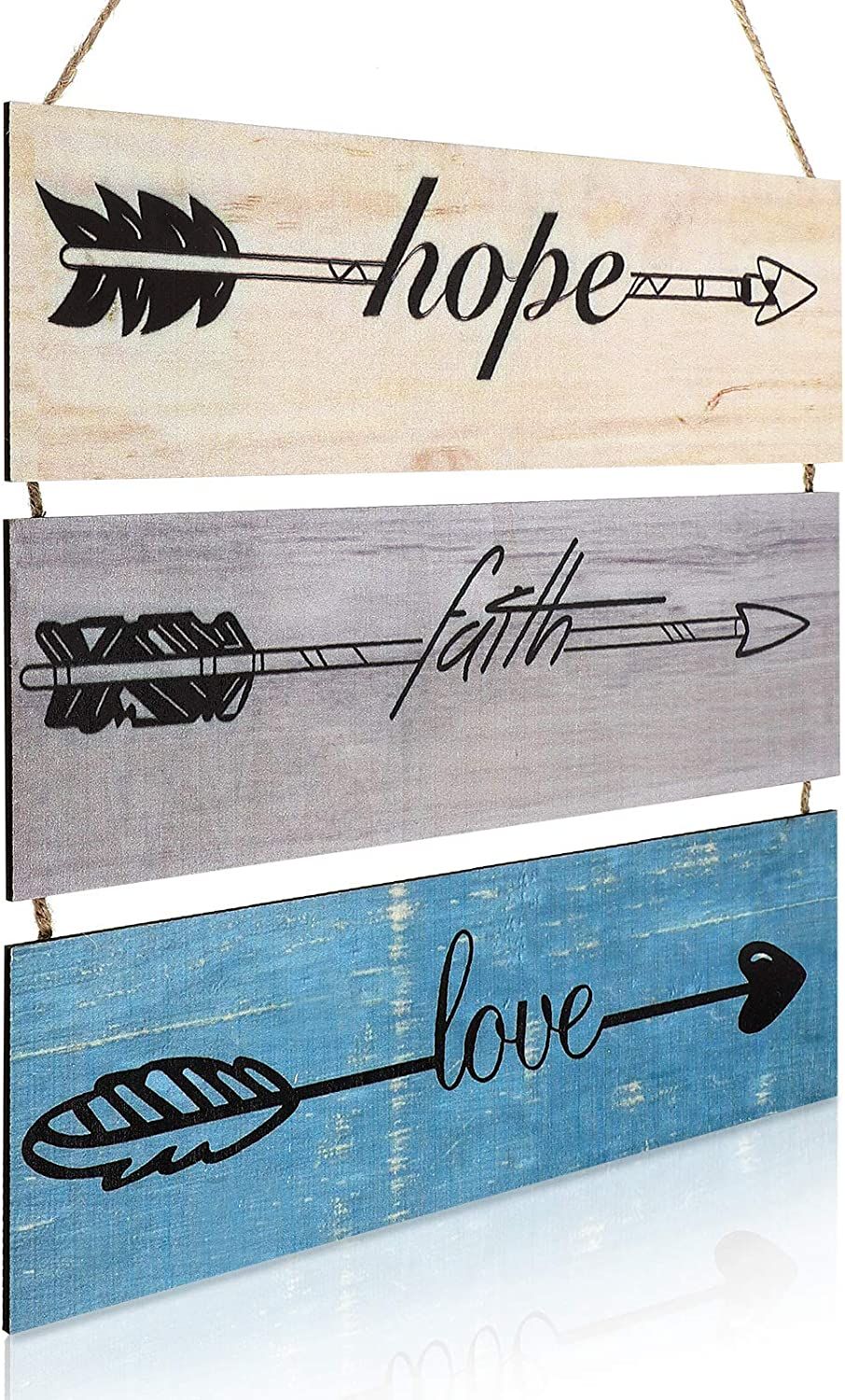 Jetec Wooden Hope Faith Love Sign, Large Rustic Hanging Wall Sign, Farmhouse Wood Arrow Sign Wall Decor for Home Living Room Bedroom Office Decoration and Wedding Favor
