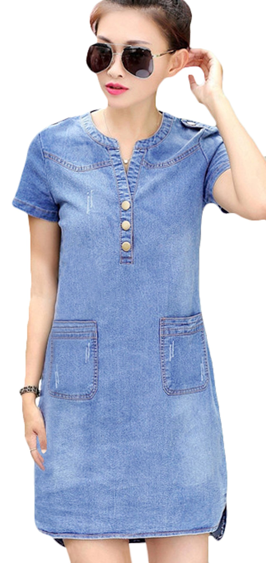 fd5245ebac Youhan Women s Vintage Fitted V-Neck Short Sleeve Denim Dress ...