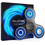 VILLATONE - Black Fidget Spinner - Professional (Si3N4 Ceramic R608) Blue Bearing - High Speed & Longest Spin. EDC ADHD Focus Figit Tri-Spinner. Boredom Attention Anxiety Hand Toy