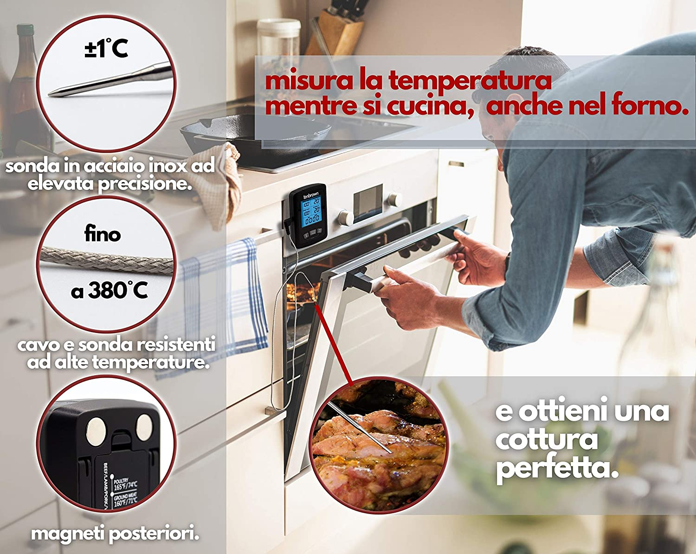 Ociodual Termometro Digitale da Cucina Colore Nero in Acciaio Inox per BBQ