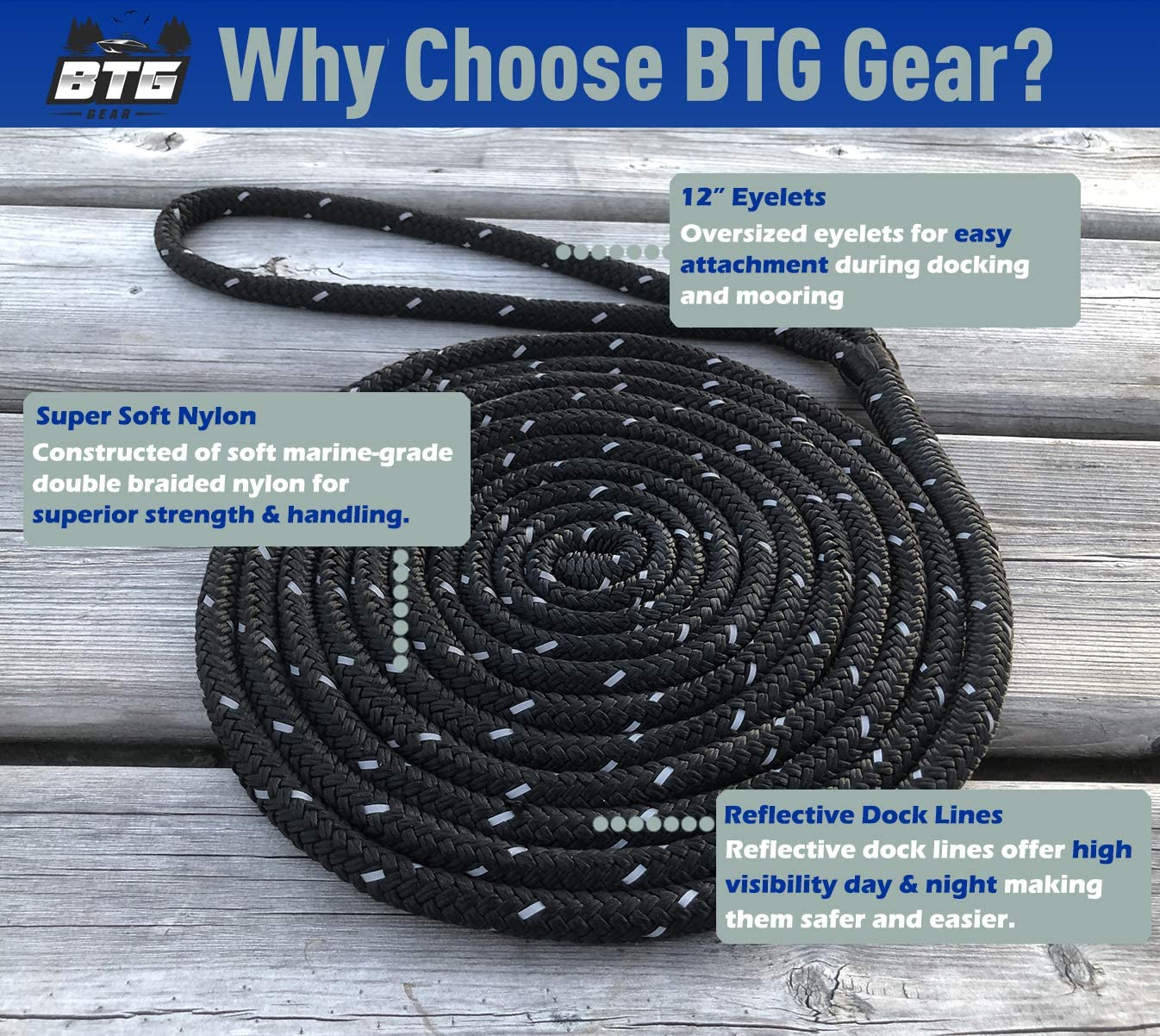 BTG Gear Two Boat Dock Line Snubbers for Marine Mooring Ropes