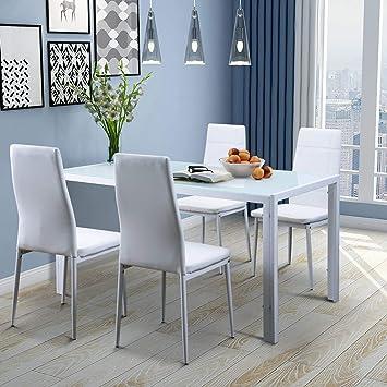 Amazon.com - Merax 5PC Glass Top Dining Set 4 Person Dining ...