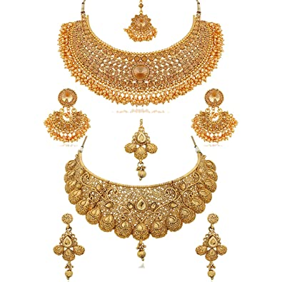 2fe3018bb Buy REEVA Pearl Gold Plated Jewellery Set for Women - Combo Pack Online at  Low Prices in India | Amazon Jewellery Store - Amazon.in