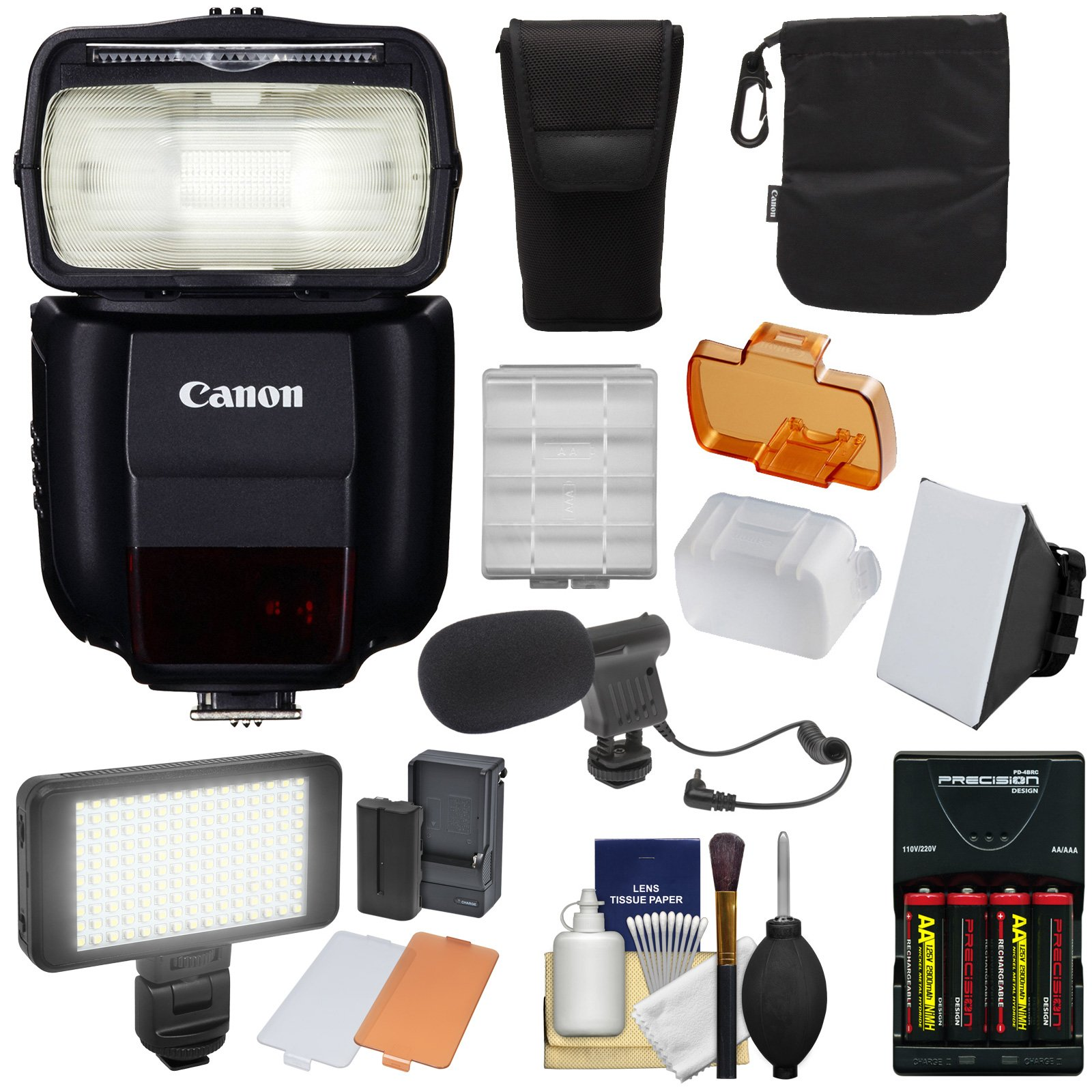 Canon Speedlite 430EX III-RT Flash with Soft Box + Batteries & Charger + LED Video Light & Microphone Kit
