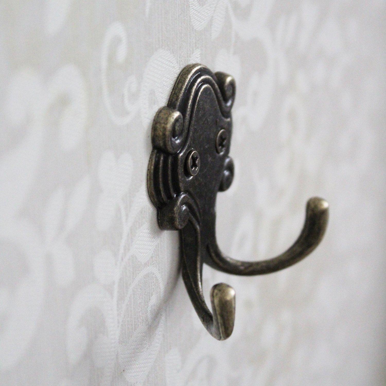 LJY 15 Piezas Octopus Doble Prong Robe Ganchos con Tornillos Paquete Retro pared montada perchas de la puerta