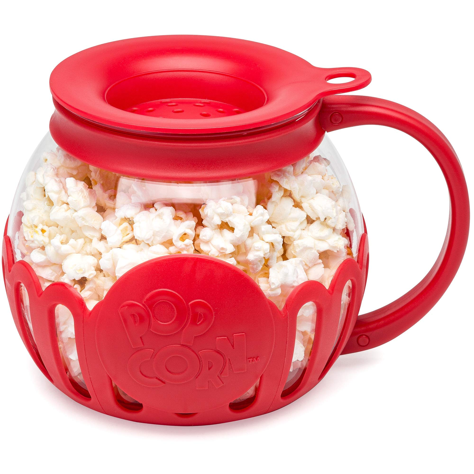 Ecolution EKPRE-4215 Original Microwave Micro-Pop Popcorn Popper, Borosilicate Glass, 3-in-1 Silicone Lid, Dishwasher Safe, BPA Free, 1.5 Qt - Snack Size, Red by Ecolution