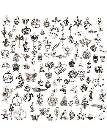 7a8ad97ddda7 Juanya 100 unidades DIY accesorios mezclados de plata tibetana estilos  colgantes del encanto de la joyería