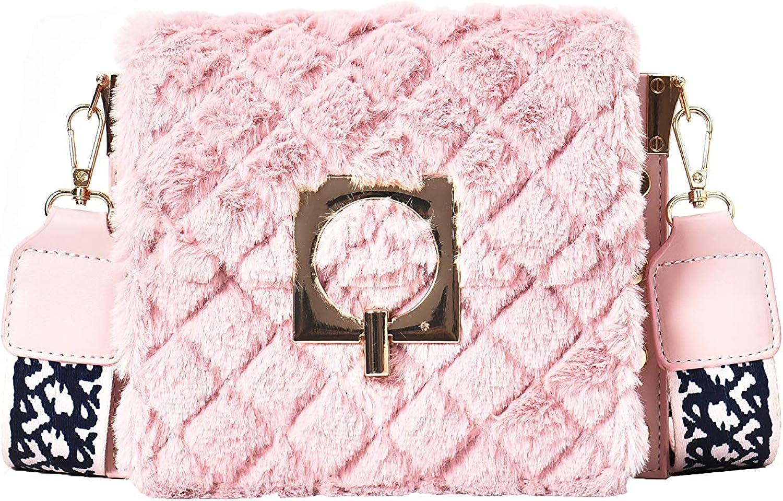 Womens Plush Small Square Bag With Diamond Pattern Single Shoulder Bag Wide Shoulder Belt Crossbody Bag Fashion Wallet
