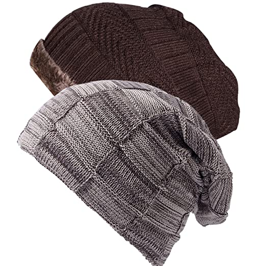 fc4c394755 Ousipps 2 Pack Mens Winter Thick Warm Cable Knit Beanie Hats with Fleece  Wool Lined, Baggy Slouchy Snow Ski Skull Caps