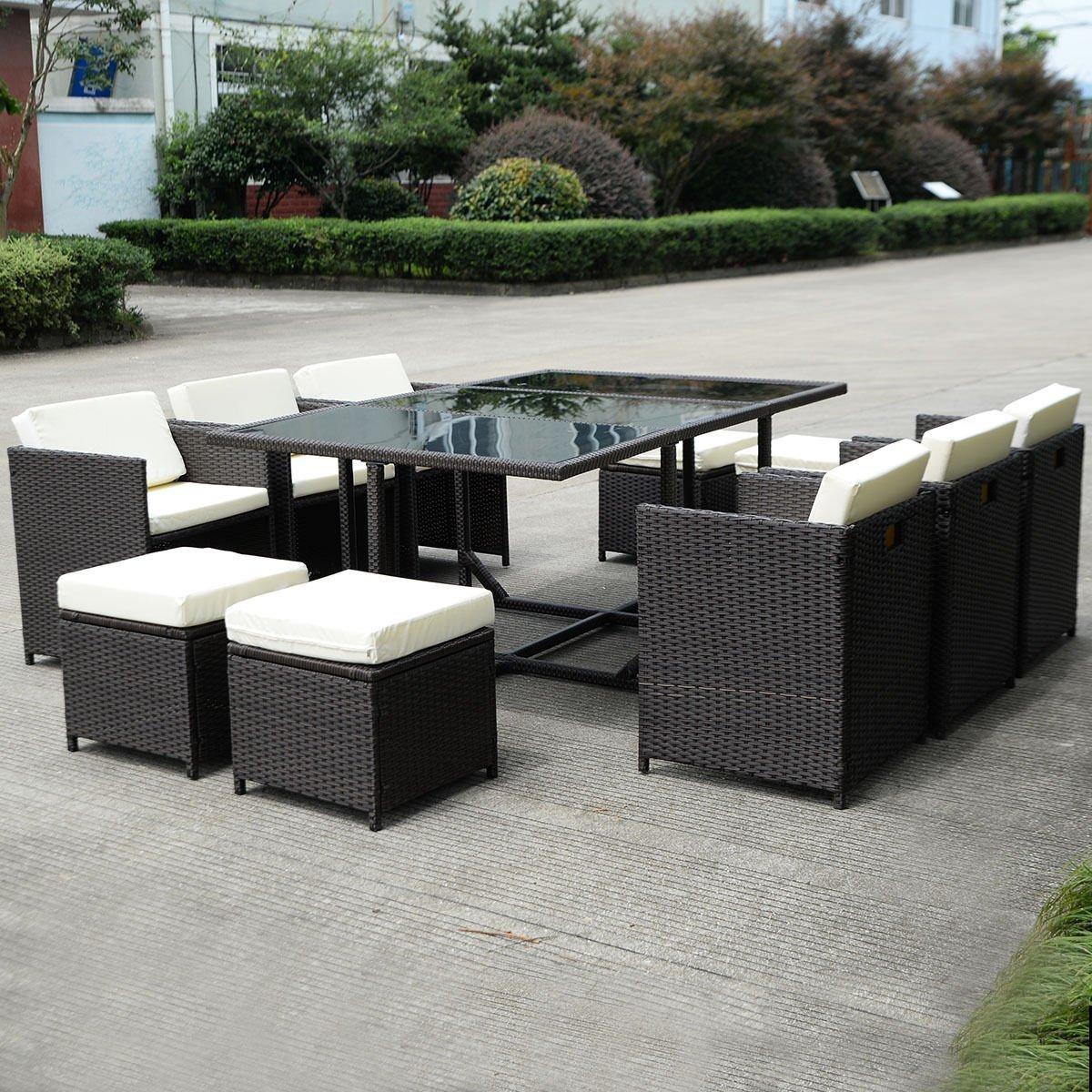 TANGKULA Patio Furniture Outdoor Wicker Rattan Dining Set Cushioned Seat Garden Sectional Conversation Sofa