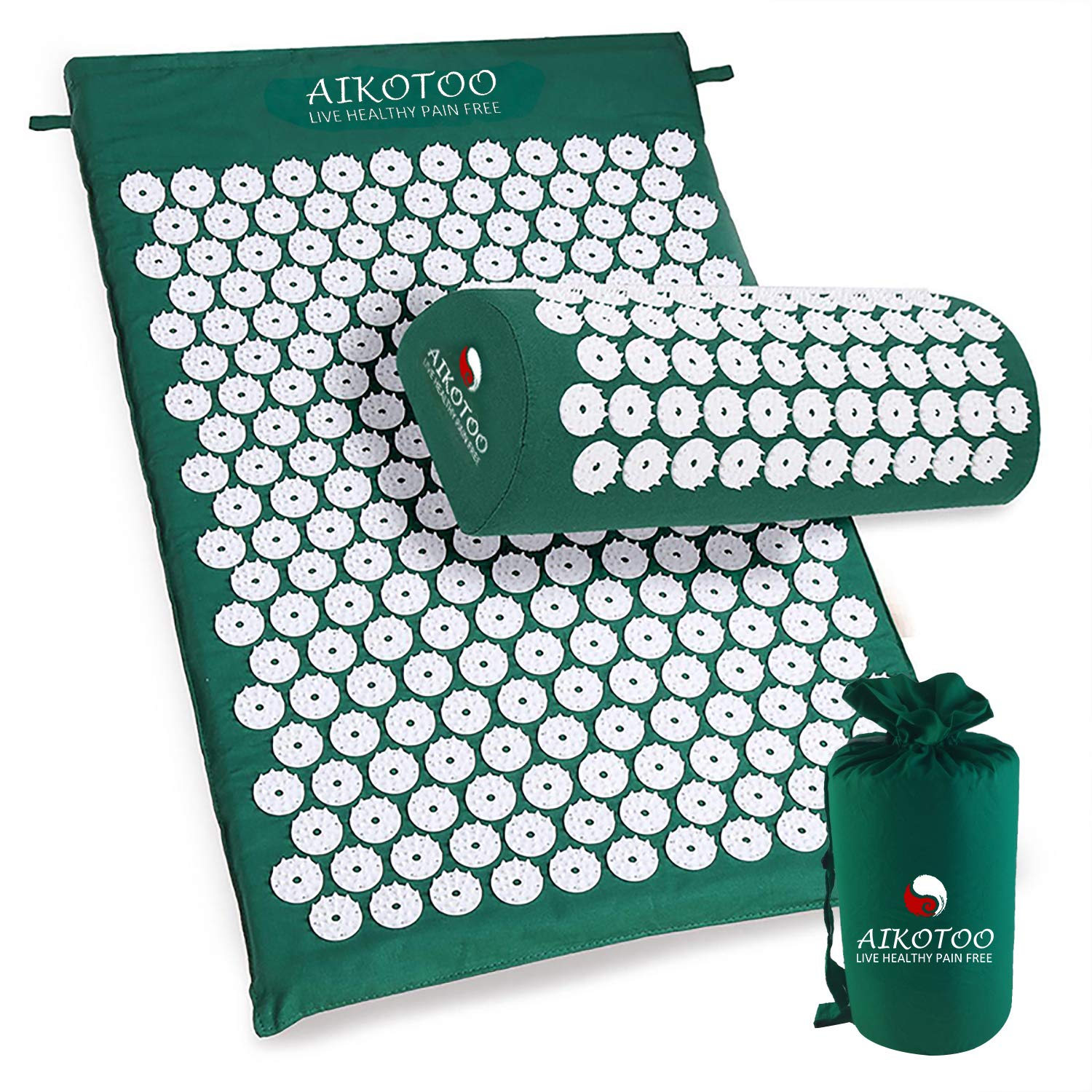 Acupressure Mat and Pillow Set for Sciatic Pain Back Pain and Neck Pain Relief Relieve Stress by AIKOTOO by AIKOTOO