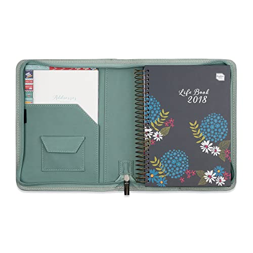 2018 Boxclever Press Life Book diary in a faux leather diary cover. A5 week-to-view diary organiser with large spaces for each day (starts straight away until December 2018). (Cool Sage)