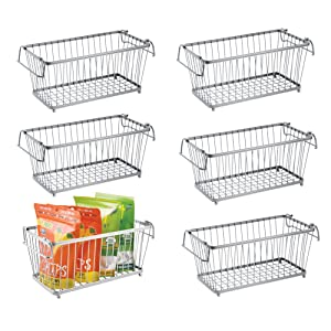 "mDesign Household Stackable Metal Wire Storage Organizer Bin Basket with Built-In Handles for Kitchen Cabinets, Pantry, Closets, Bedrooms, Bathrooms - 12.5"" Wide, 6 Pack - Silver"