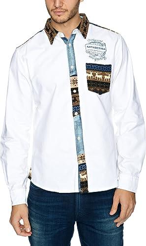 Desigual Pole - Camisa para Hombre, Talla 37/38, Color Blanco: Amazon.es: Ropa y accesorios
