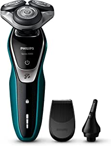 Philips Shaver Series 5000 Wet and Dry Cordless Electric Shaver with MultiPrecision Blade System & Nose/Ear Trimmer Attachments, Severum - Super Nova Silver, S5550/44