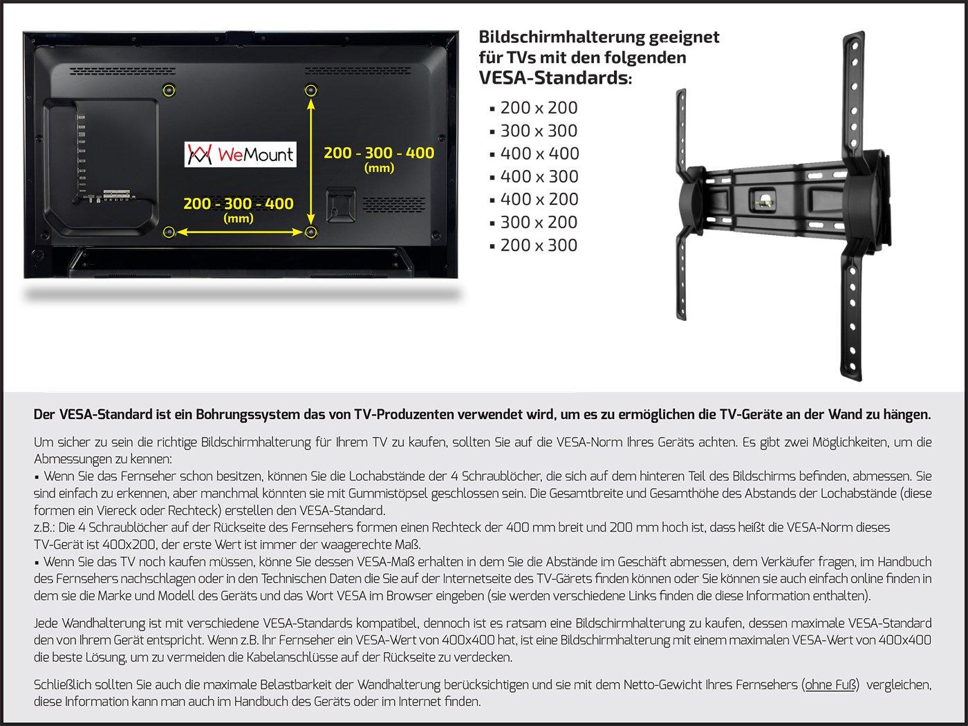 WeMount W-DA400 Supporto per LED//Plasma//LCD per Diagonale Schermo 40 Fino a 75 Nero