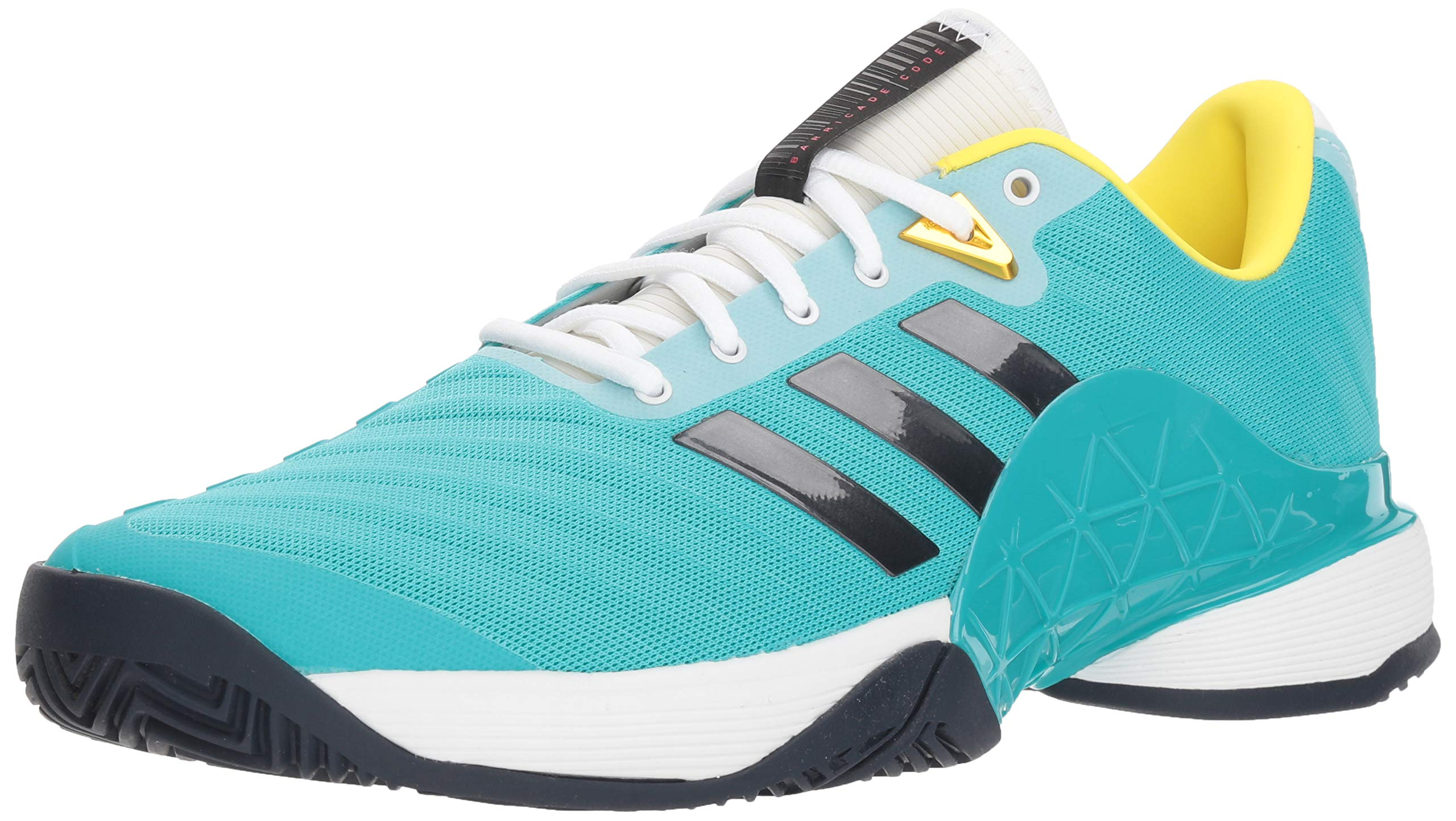adidas Men's Barricade 2018 Tennis Shoe, Hi-Res Aqua/Legend Ink/Shock Yellow, 7 M US