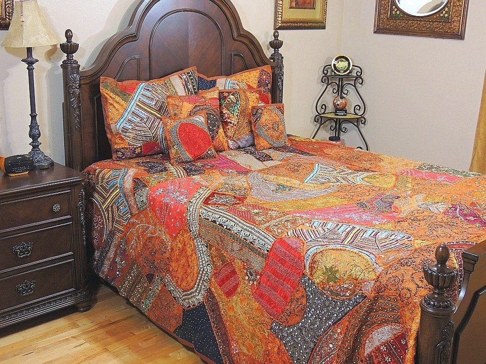 NovaHaat Beautiful India Style Bedding Handmade - 7 Piece Orange Russet Duvet Set Pillow Shams Cushion Covers Ensemble ~ King