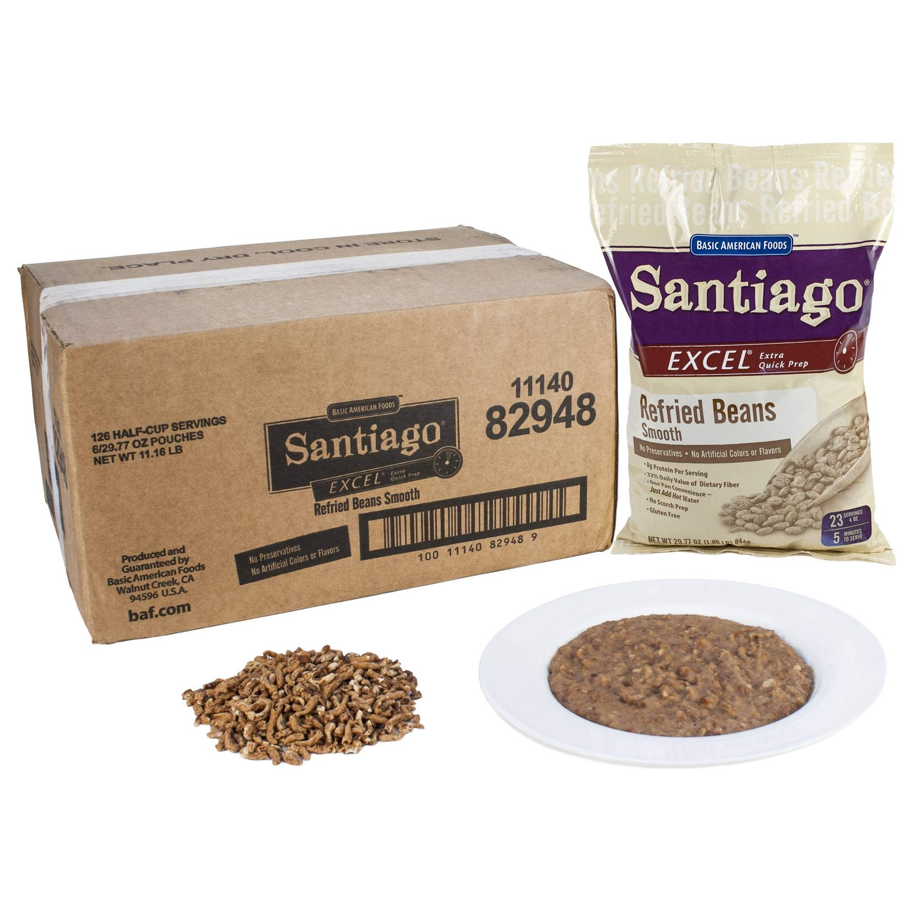 Santiago Smooth Refried Beans - 29.77 oz. pouch, 6 pouches per case by Basic American Foods