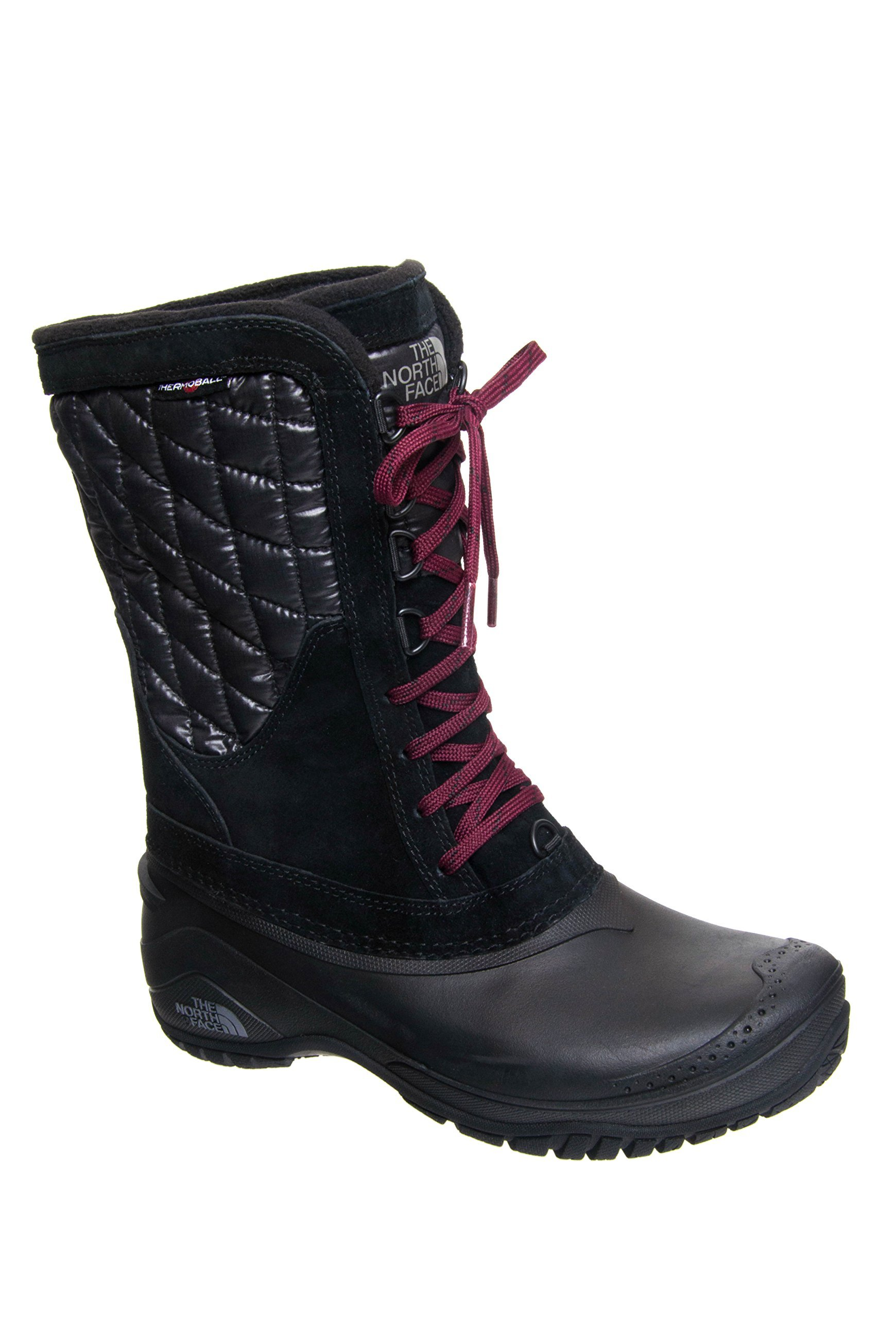 The North Face Women's Thermoball Utility Mid Boot - TNF Black/Deep Garnet Red - 9 by The North Face (Image #1)