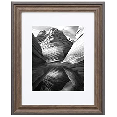 11  x 14  Photo Frame - Matted for 8  x 10 , Brown Frames by EcoHome
