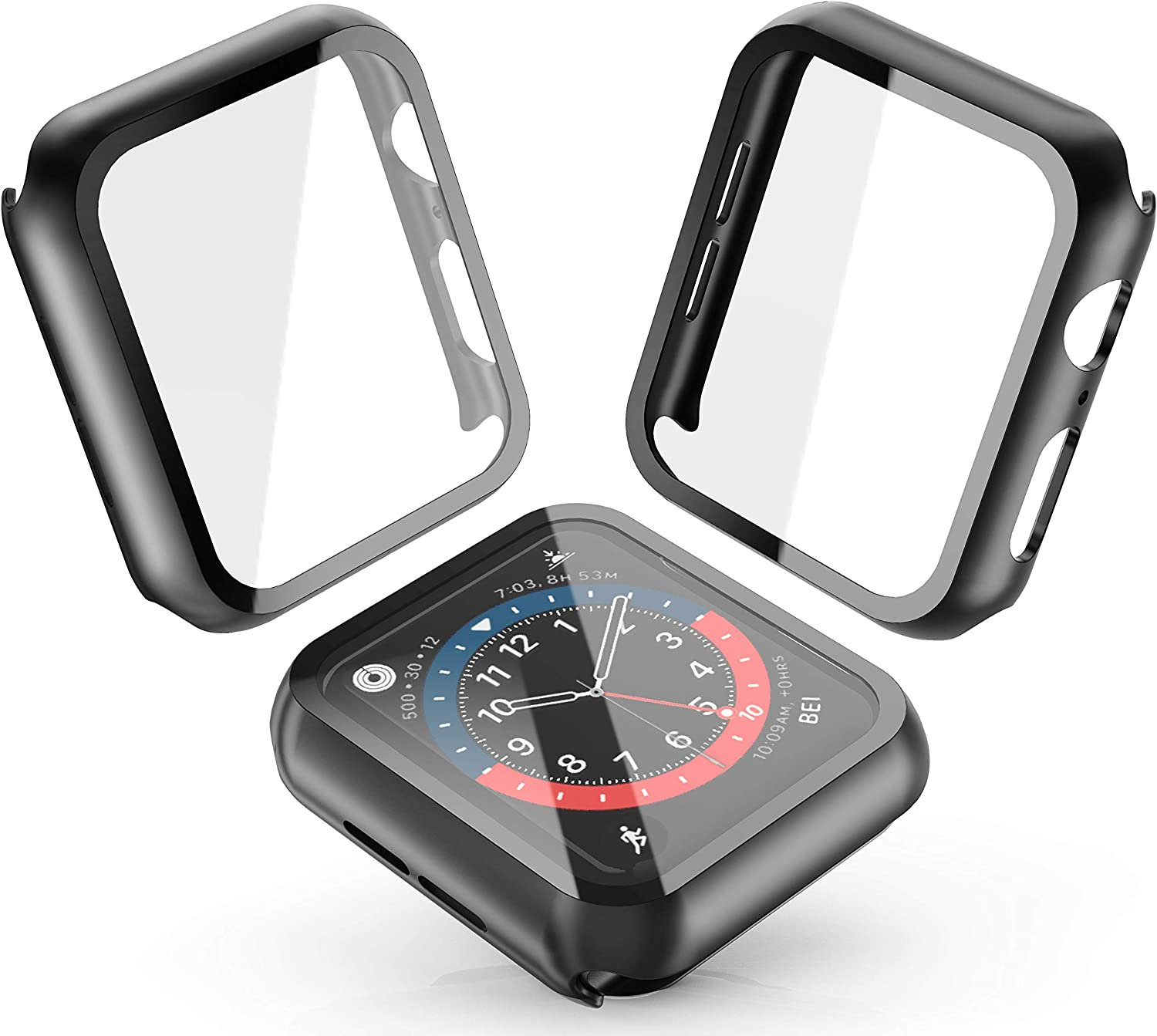 Julk Hard Case for Apple Watch Series 6 / SE/Series 5 / Series 4 44mm, 2020 New iWatch PC Overall Protective Cover with Slim Tempered Glass Screen Protector (2-Pack Black)