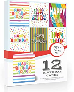 12 X Colourful Birthday Cards Pack Envelopes By Olivia SamuelTM Great Value