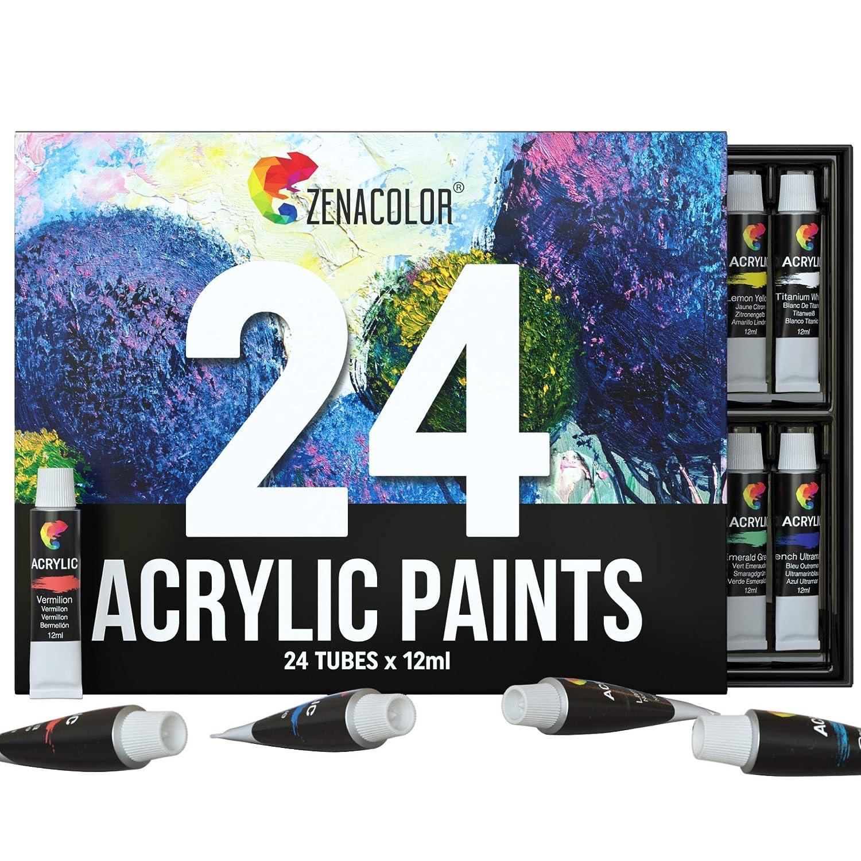 Zenacolor Zestaw farb akrylowych – tubki 24 x 12 ml – wysokiej jakości