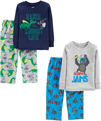 Simple Joys by Carter's Niños pijama de satén, Pack de 4