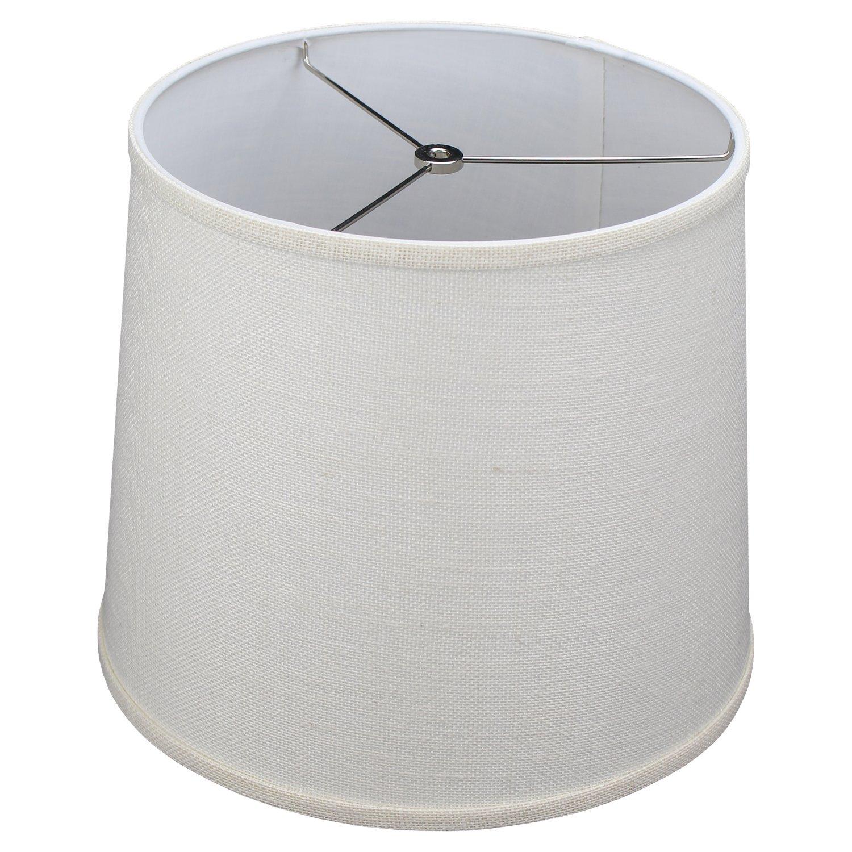 FenchelShades.com 12'' Top Diameter x 13'' Bottom Diameter 12'' Slant Height Lampshade Retro Rustic Vintage Hardback Liner USA Made (Burlap Off White)