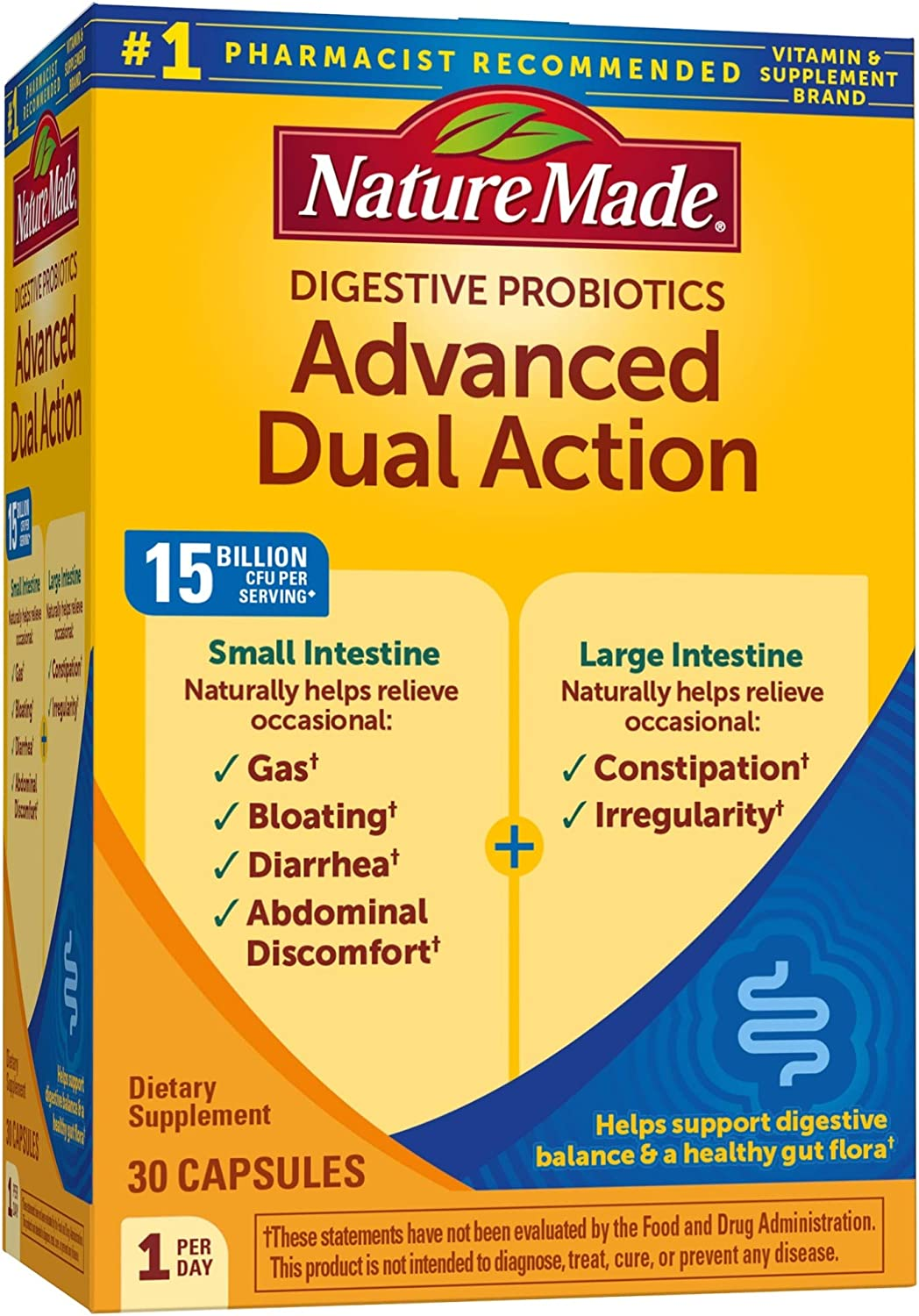 Nature Made Advanced Dual Action Probiotics 15 Billion CFU Per Serving, 30 Capsules, for Gas, Bloating, and Digestive Balance (Packaging May Vary)