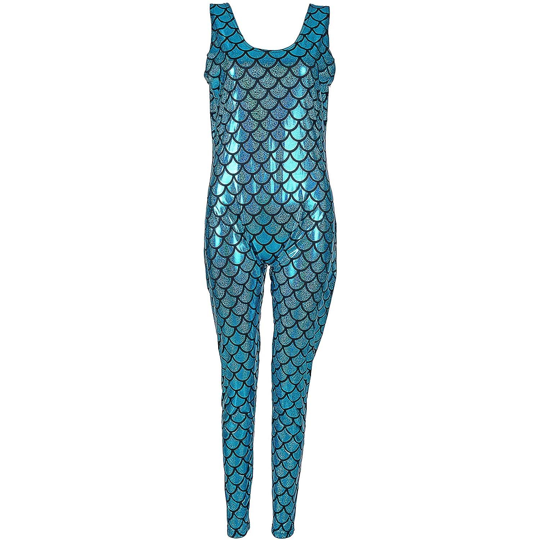 Cherry-on-Top Turquoise Scale Metallic Cat Suit Jump Suit Romper Festival Wear
