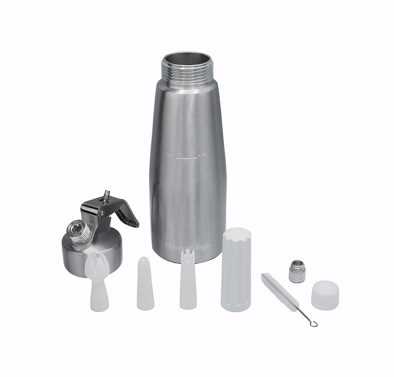 Sifón de crema dispensador de nata montada - Cuerpo y Cabeza de aluminio - 500 ml - 3 boquillas para decorar - utiliza estándar N20 cartuchos (no incluido): ...