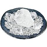 SI-075 クリアなかちわり天然水晶を大小合わせて200g! 藍の皿とともに☆