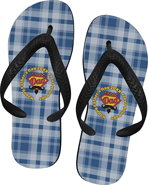 e9ae66267326 RNK Shops Hipster Dad Flip Flops - XSmall (Personalized) Blue