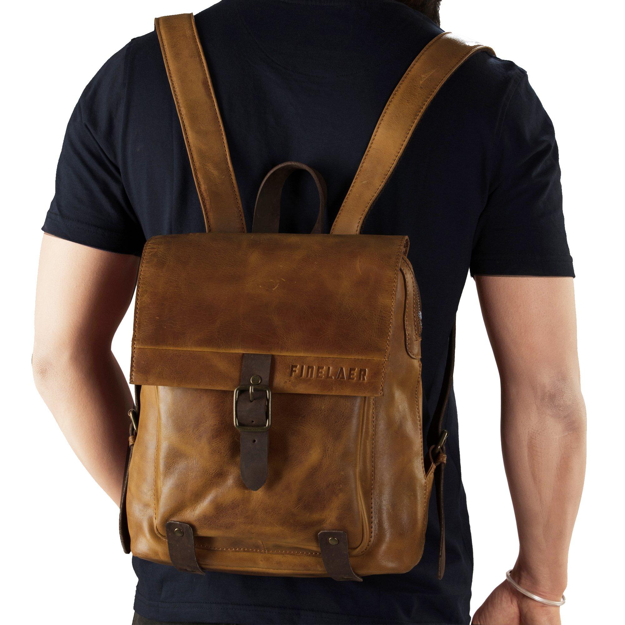 Finelaer Vintage Genuine Leather Backpack DayPack Travel College Bag Brown Men Women by FINELAER (Image #2)