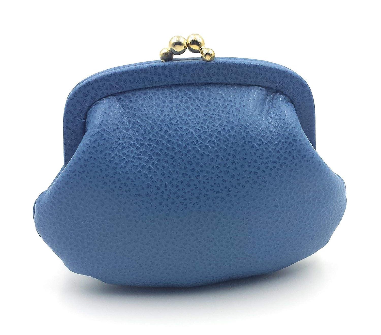 FJR-ArtPiel - Monedero con cierre de boquilla Piel Ubrique - Alta Calidad - Azul