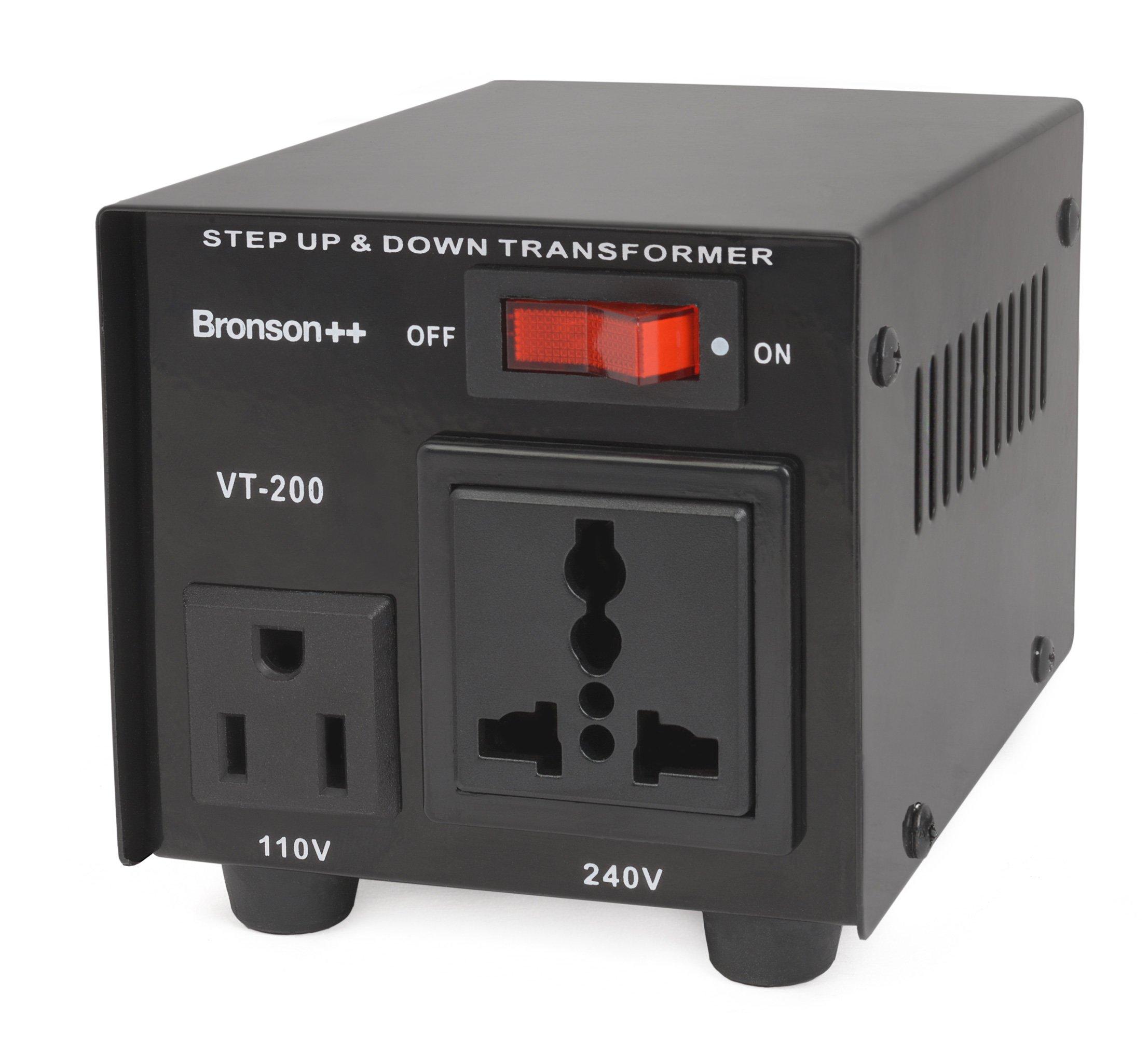 Bronson++ VT 200 - Transformador Elevador / Reductor de Voltaje de 200 Vatios EE.UU