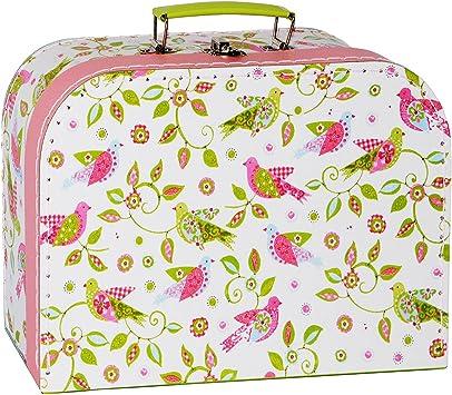 Pappkoffer rosa mit Schmetterling und Wunschname 35 cm