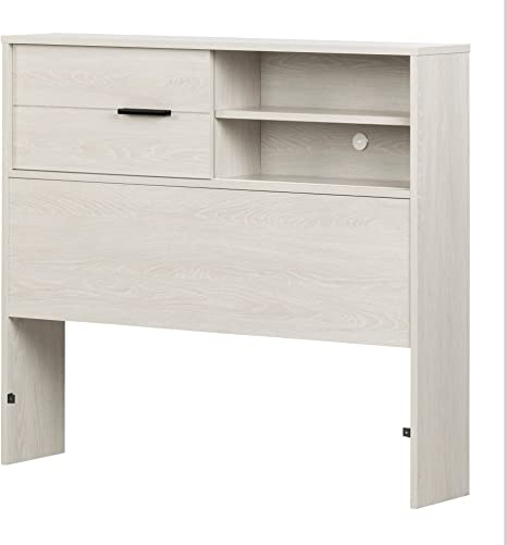 South Shore Fynn Headboard with Storage Twin 39-Inch Gray Oak