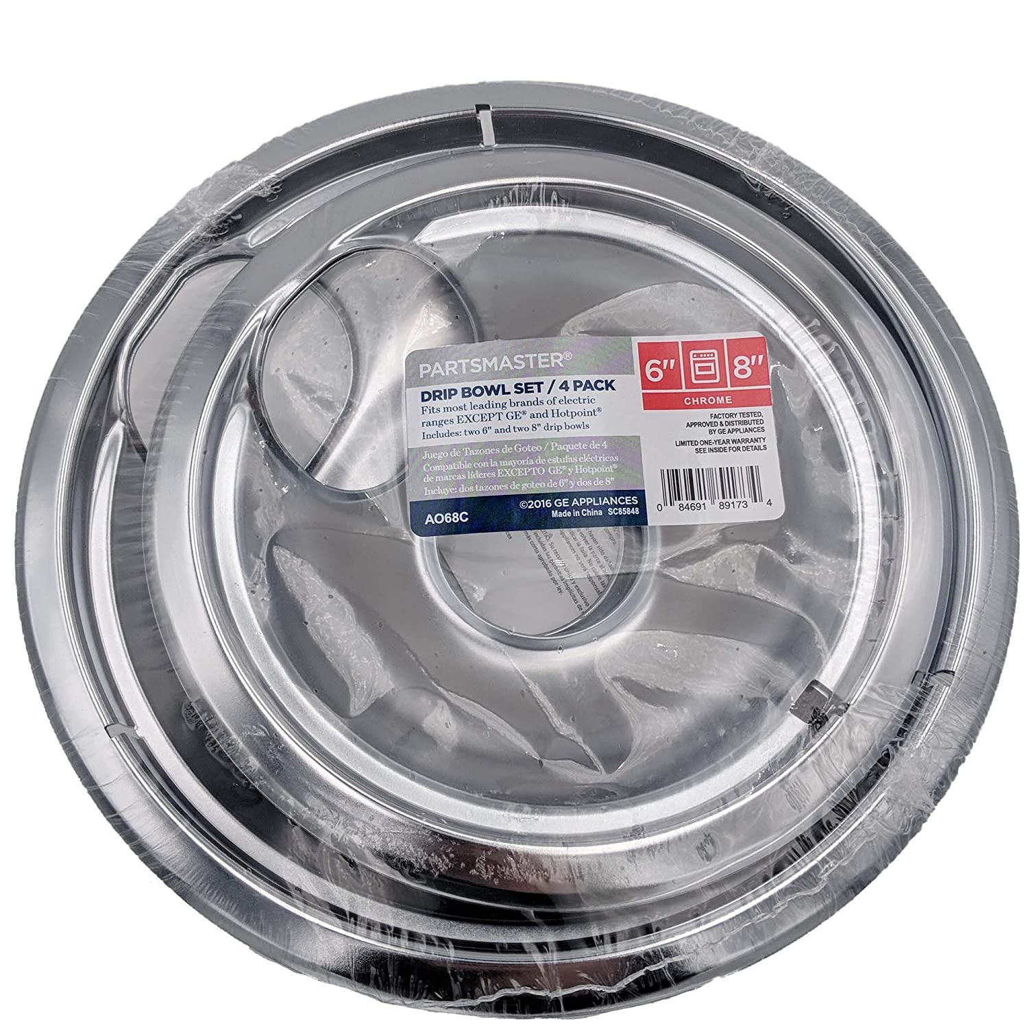 Amazon.com: A068C GE Drip Bowl Set for Electric Ranges (4-Pack) Fits Most Leading Brands Except GE and Hotpoint: Home Improvement
